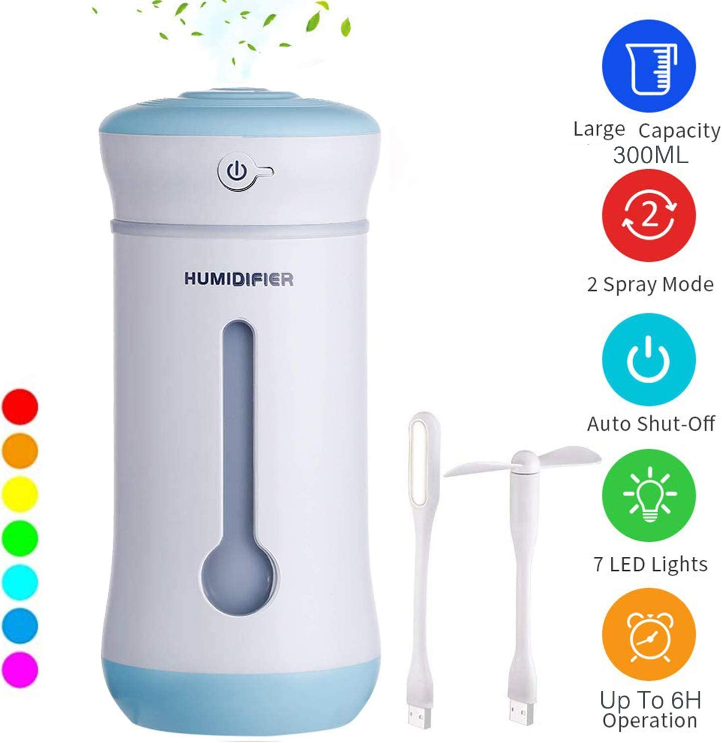 Cool Mist Humidifier 300ml Spray Ultrasonic Air Humidifier Purifier Hydrating Portable With 7 Color Modes LED Light USB For Bedroom Home Office Car Baby Kids Table With Extra Mini LED Fan Blue