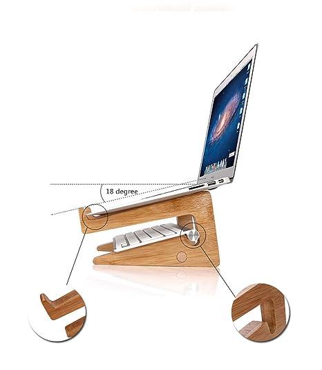 OUTOWIN Creativa Bambú Soporte Para Portátil Vertical Dock - Ergonómico Ordenador Soporte De Escritorio Disipación De Calor Para Todos los Apple MacBook, ...