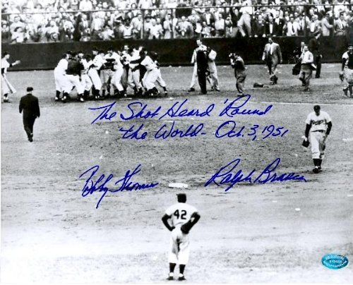 The Shot Heard Round The World Celebration 16x20 photo autographed by Bobby Thomson Ralph Branca inscribed (NY Giants defeat Brooklyn Dodgers 1951)