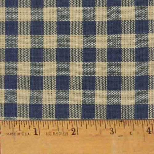 Homespun Cotton Fabric - Heritage Navy Blue 5 Homespun Cotton Plaid Fabric by JCS - Sold by the Yard