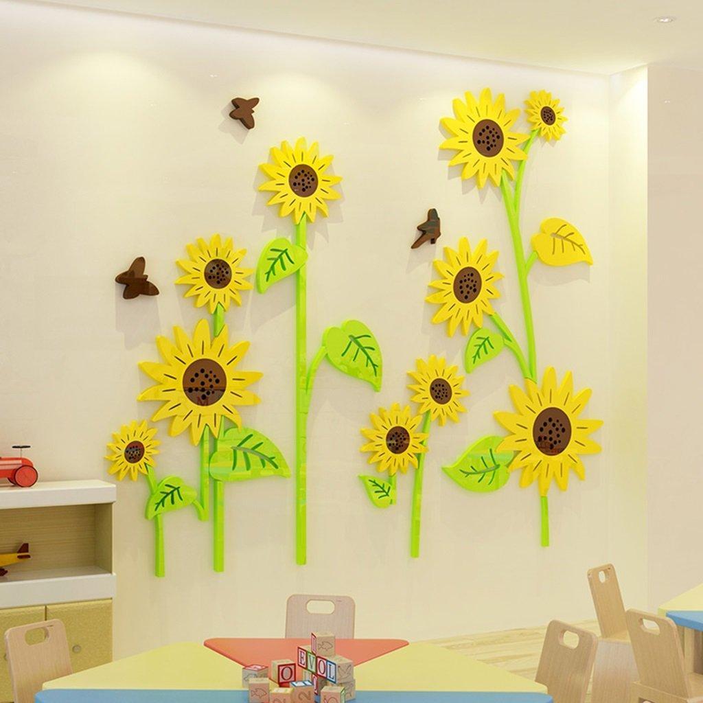 Unbekannt DWW-Wandsticker Wandaufkleber Sonnenblume Acryl Kindergarten Wanddekoration Aufkleber 3D Stereo Kinderzimmer Wasserdichte Installation einfach Wandsticker (größe : S)