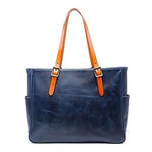 トートバック ショルダーバッグ バッグ 2way メンズ ビジネス 本革 革 ヌメ革 栃木レザーハンドメイド ファスナー a4 調節可 ネイビーブルー色