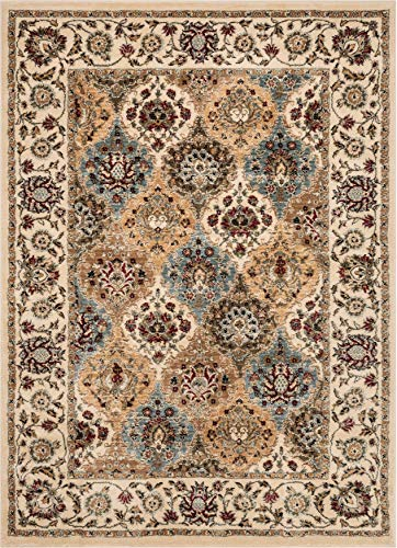 Well Woven Persian Oriental Panel Area Rug Ivory Multicolor 3x5 4x6 (3