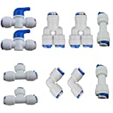 Lemny 1/4 inch OD Quick Connect Push In to Connect Water Tube Fitting Pack Of 10 (Ball Valve+Y+T+I+L Type Combo)