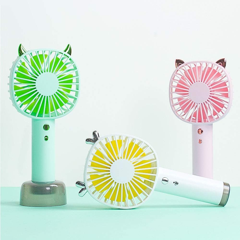 Yougou01 Electric Fan Handheld Mini Portable Design Small Portable Portable Silent Charging USB Small Fan 9 6 20.5cm // 3.6 2.6 8.2 Inches, Green//Pink//White Color : Pink