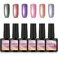 ROSALIND Brillo de esmalte de uñas en gel Remojo Nail Art Platinum UV LED Esmalte de uñas en gel Brillo Laca de gel de larga duración 6x10ml…