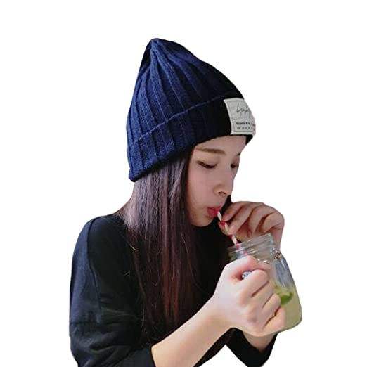 e5737e32e1e 2017 Letter White Labeling Dark Blue Cotton Pointed Hat Autumn Winter Hat  Korean Style New Thermal Knit Cap Womens Cute Beanie Hat at Amazon Women s  ...
