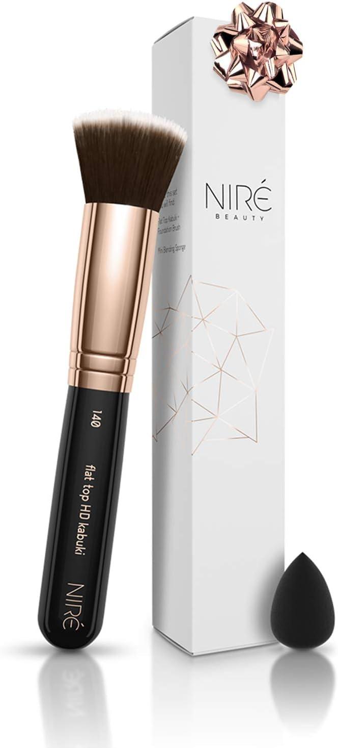 Brocha de base de maquillaje 140 de Niré Beauty: una brocha de maquillaje profesional con mini esponja para base: Amazon.es: Belleza