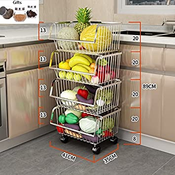 Muebles de cocina Cesta de almacenamiento del hogar de múltiples capas Frutas y verduras Rack Rack