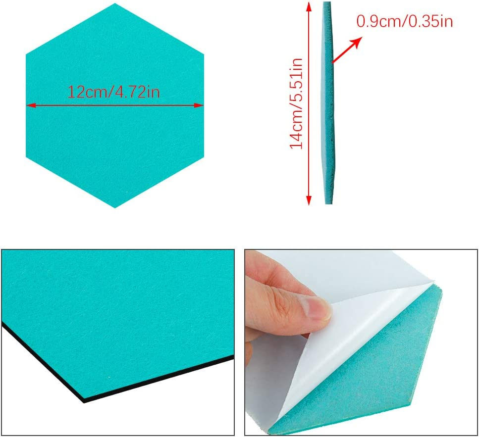 faddy-1 Hexagon Felt Board Tiles 8 Pack Self Adhesive Felt Memo Boards Notice Memo Bulletin Boards Display Board with Push Pins for Home Office and School