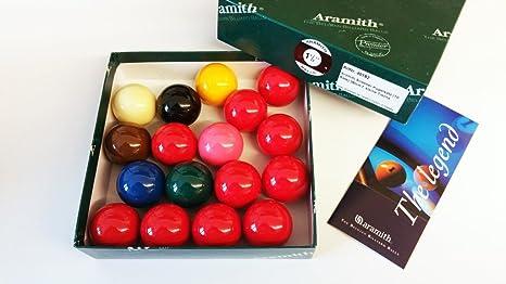 Aramith Snooker - Juego de Bolas para Aperitivos (10 Rojas, 38 mm ...