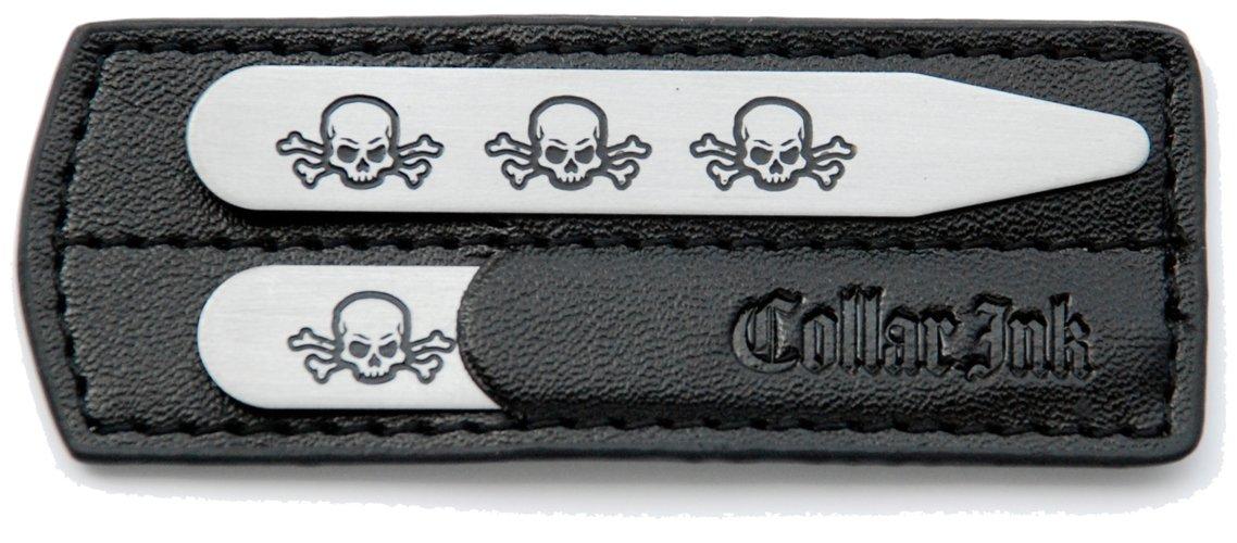 Collar Ink Men's Metal collar stay (Three Skulls)-2-1/2'' x 3/8''-Stainless steel