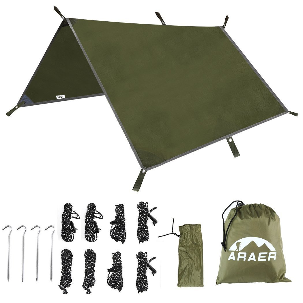Hammock Rain Fly Tent Tarp, 114'' x 114''/9.5ft, 600g/1.32lbs, 2000PU Waterproof, Windproof, UV 50+ Sunshade, Essential Survival Camping/Hiking/Backpacking/Cycling Gear, 4 Stakes and 8 Ropes