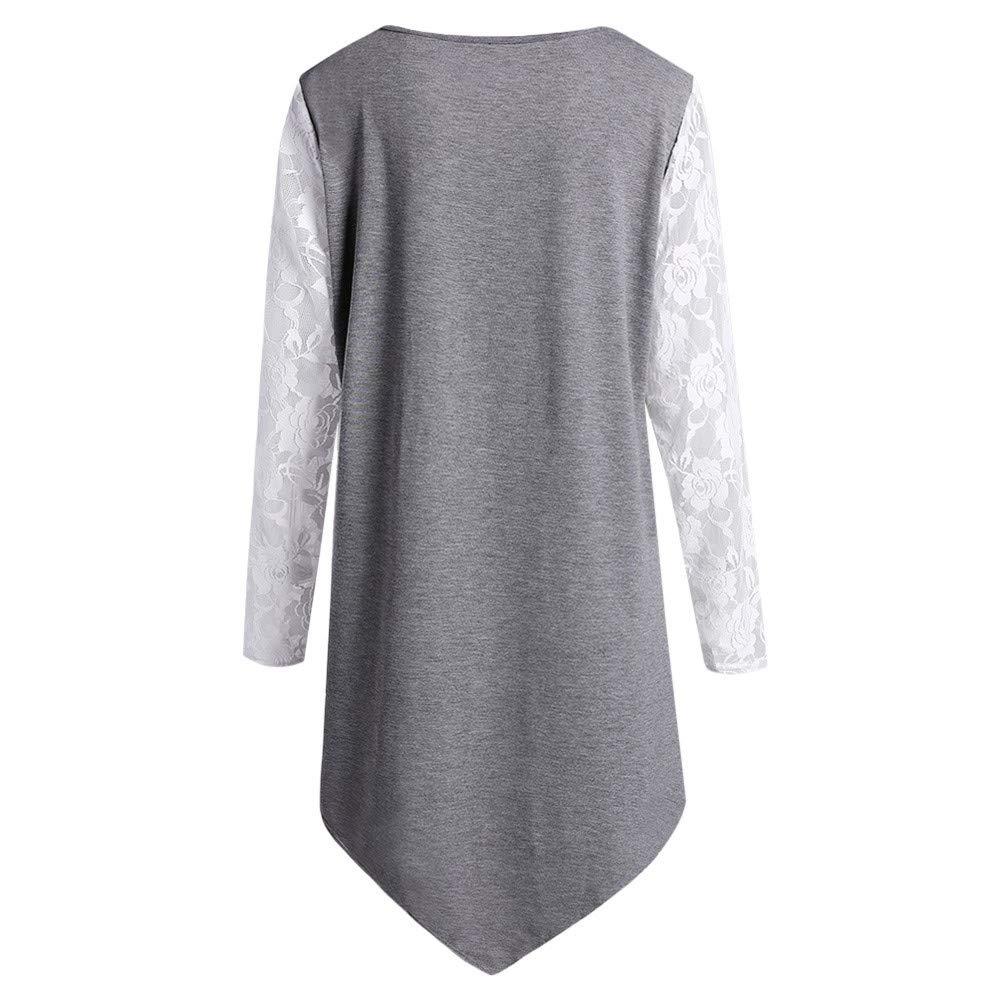 Skull Printed Lace Irregular Hem Long Sleeve Pullover Tops Blouse iCODOD Womens Plus Size Shirt