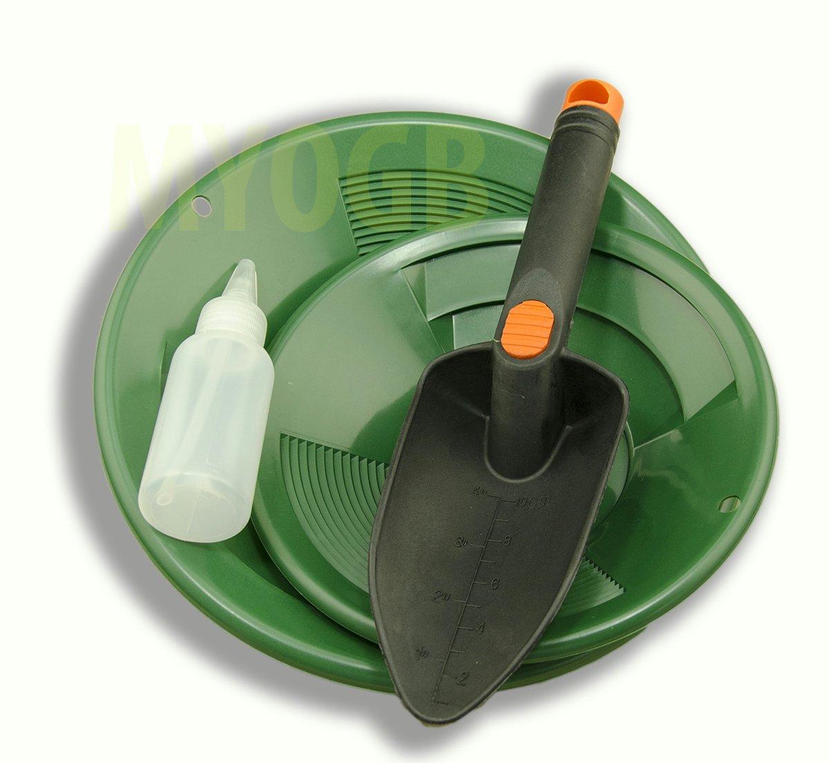 Make Your Own Gold Bars Gold Panning Kit 10'' & 8'' Green Pans Bottle Snuffer & Scoop-Mining Prospecting