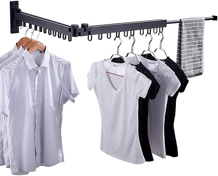 Bakala Wall Mounted Space-Saver, Clothes Drying Rack, Retractable Fold Away Clothes Dry Racks, Easy to Install Design, Balcony, Mudroom, Bedroom, PoolArea(Black)