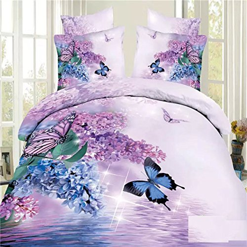 EsyDream Home Beding Sets,Butterfly floral Duvet Cover,3D...