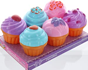 GiftExpress 6 PCS Pretend Play Food Dessert Set, Mini Toy Cupcakes for Kids, Petite Pastries Toys