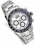 TECHNOS テクノス メンズ腕時計 クロノグラフ 10気圧防水 ブラックIPベゼル ホワイトダイヤル ベルト調節工具 レザーブレスセット SM-411-TW [並行輸入品]