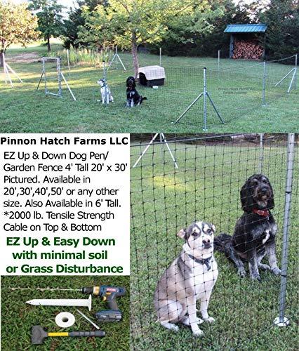 Jones-Sports Dog/Deer/Garden Pen/Fence 4' 6' Tall 10'x20',30',40',50',60'Chicken,Pet EZ Up & Down (20' x 20' or 10' x 30', 4' Tall) (Black Deer 30' Garden)