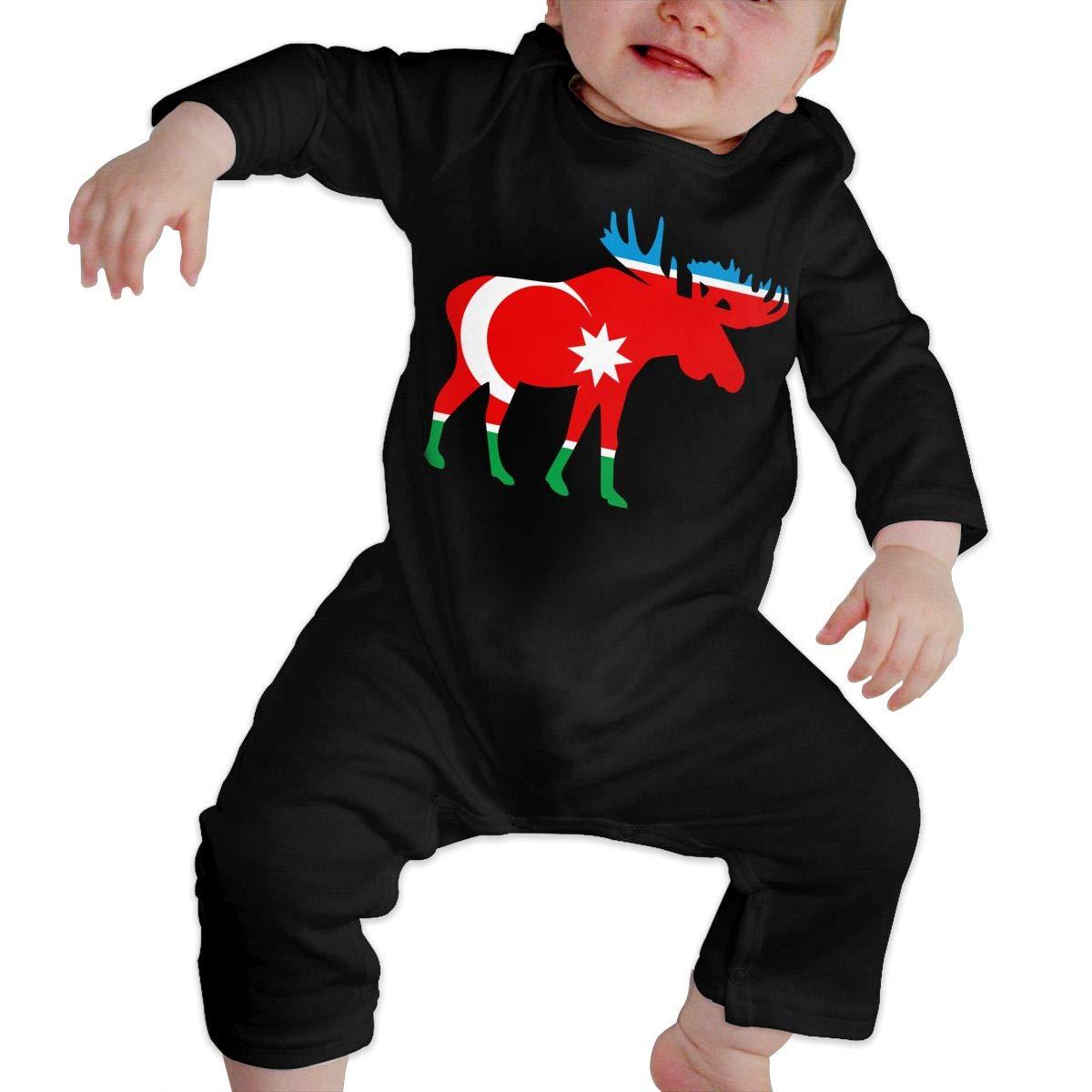 Cute Azerbaijan Moose Jumpsuit U99oi-9 Long Sleeve Cotton Bodysuit for Baby Boys and Girls
