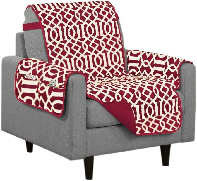 Linen Store Dallas Quilted Reversible Microfiber Furniture Protector with Strap and Pockets, Burgundy, Chair