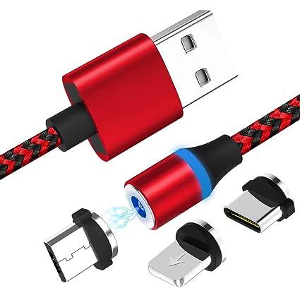 Cable de carga USB magnético, 3.3 ft multi 3-en-1 cargador ...