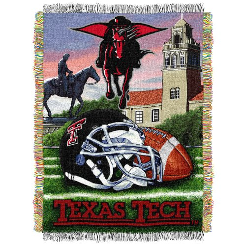 "The Northwest Company Officially Licensed NCAA Texas Tech Red Raiders Home Field Advantage Woven Tapestry Throw Blanket, 48"" x 60"""