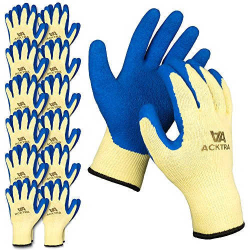 ACKTRA Gardening Coated Cotton Safety WORK GLOVES 12 Pairs, Knit Wrist Cuff, Multipurpose, for Men & Women, WG004 Blue Large