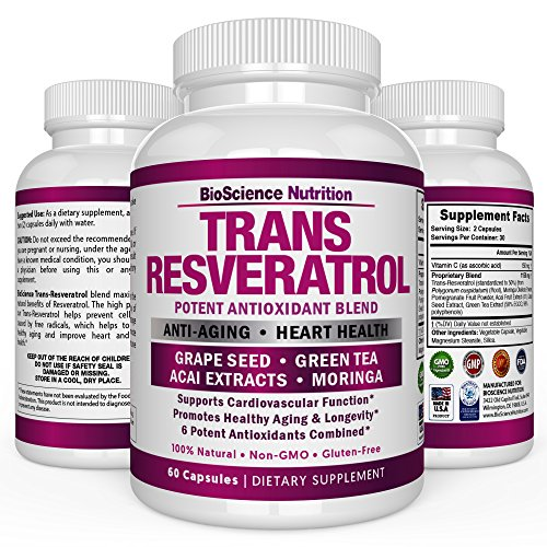 Resveratrol Supplements 1300mg Grape Seed Extract Capsules - 50% Pure Trans-Resveratrol Standardization – 60 Veggie Capsules – BioScience Nutrition