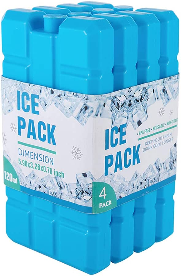 Ice Pack for Lunch Box - Freezer Packs - Original Cool Pack | Slim & Long-Lasting Ice Packs for Your Lunch or Cooler Bag (Set of 4) (1 Set of 4 Ice Packs)