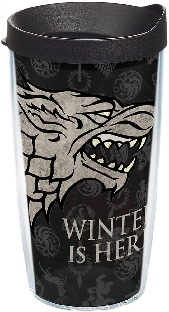 Tervis 1243477 Game of Thrones - House Stark Tumbler with Wrap and Black Lid 16oz, Clear