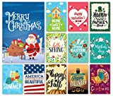 Cheap Happy Yard Seasonal Garden Flag Set for Outdoors | Set of 12 Artistically Designed Flags | 12-inch x 18-inch | Holiday Themed, Durable & Double-Sided