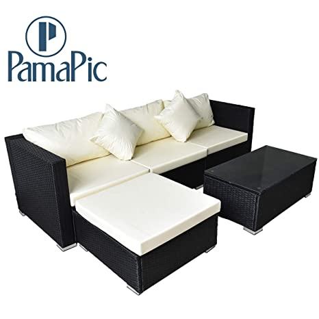 Astounding Pamapic Outdoor 5 Pieces Patio Furniture Setschaise Longue Wicker Rattan Conversation Set With Tempered Glass Coffee Table Home Interior And Landscaping Ponolsignezvosmurscom
