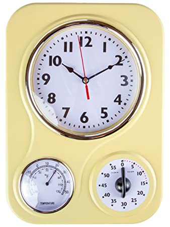 Perfect Retro Kitchen Clock With Temperature And Timer.