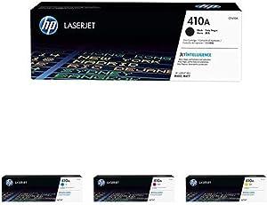 HP 410A HP Black and HP 410A HP Cyan/Magenta/Yellow Toner Cartridge Bundle (CF410A, CF411A, CF412A, CF413A)