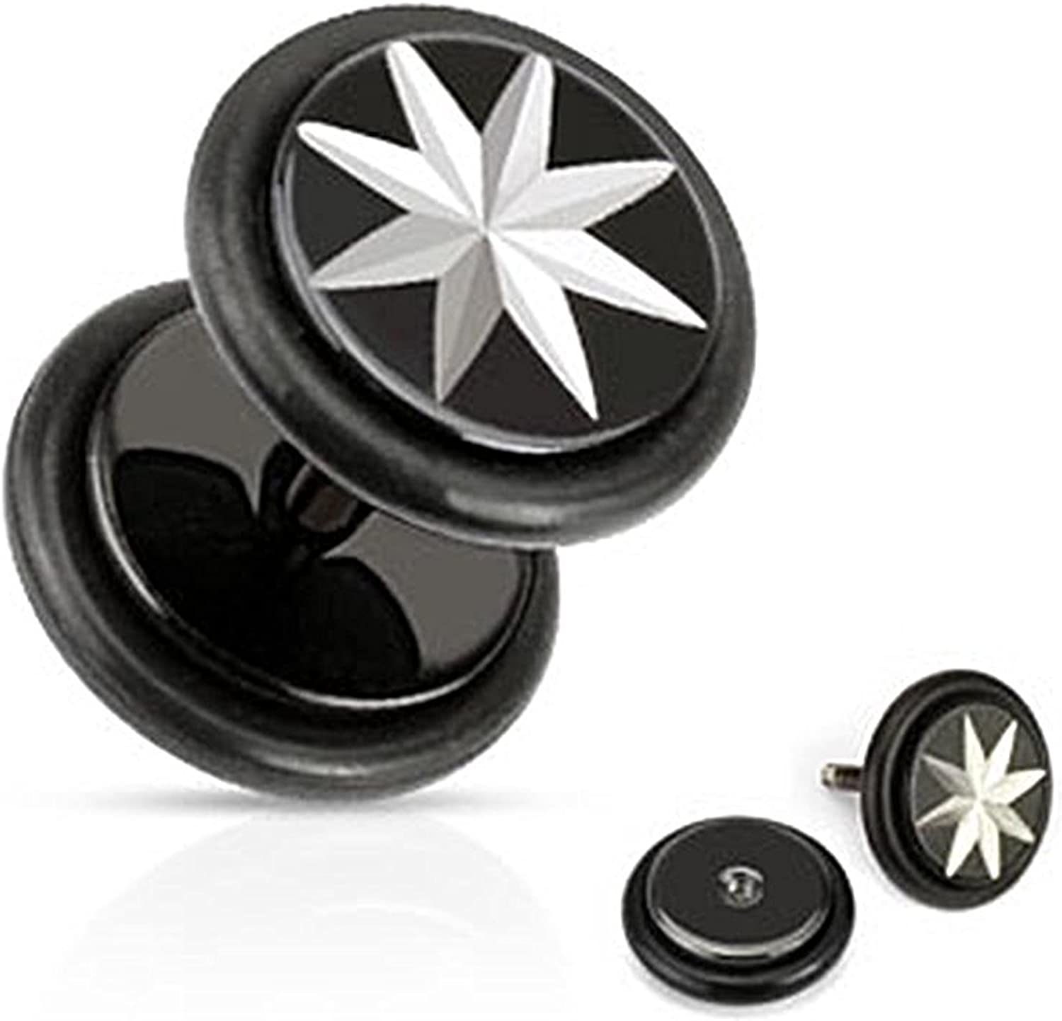 Inspiration Dezigns 16G Star Grooved Cut 316L Surgical Steel Black IP Fake Plugs Sold as a Pair