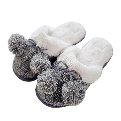 VWU Damen Mädchen Ladies Winter Frühling Schlüpfen Pantoffeln Warm Cartoon Tier Lamm Schafe Pelz Schaum Plüsch Weich Hausschuhe Innen Indoor Home Zuhause Slipper (37 EU (Tag size 38/39)) F4bmkEz