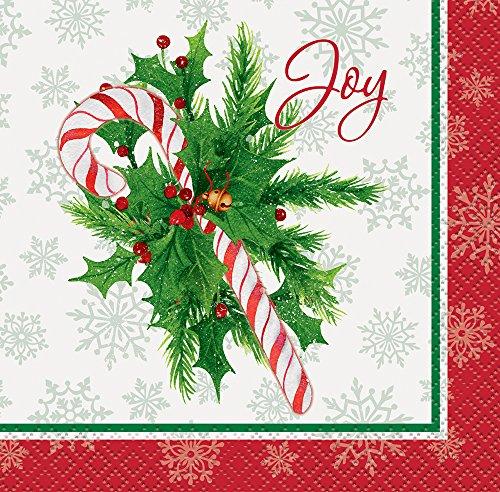 Candy Cane Christmas Beverage Napkins, (Xmas Cane)