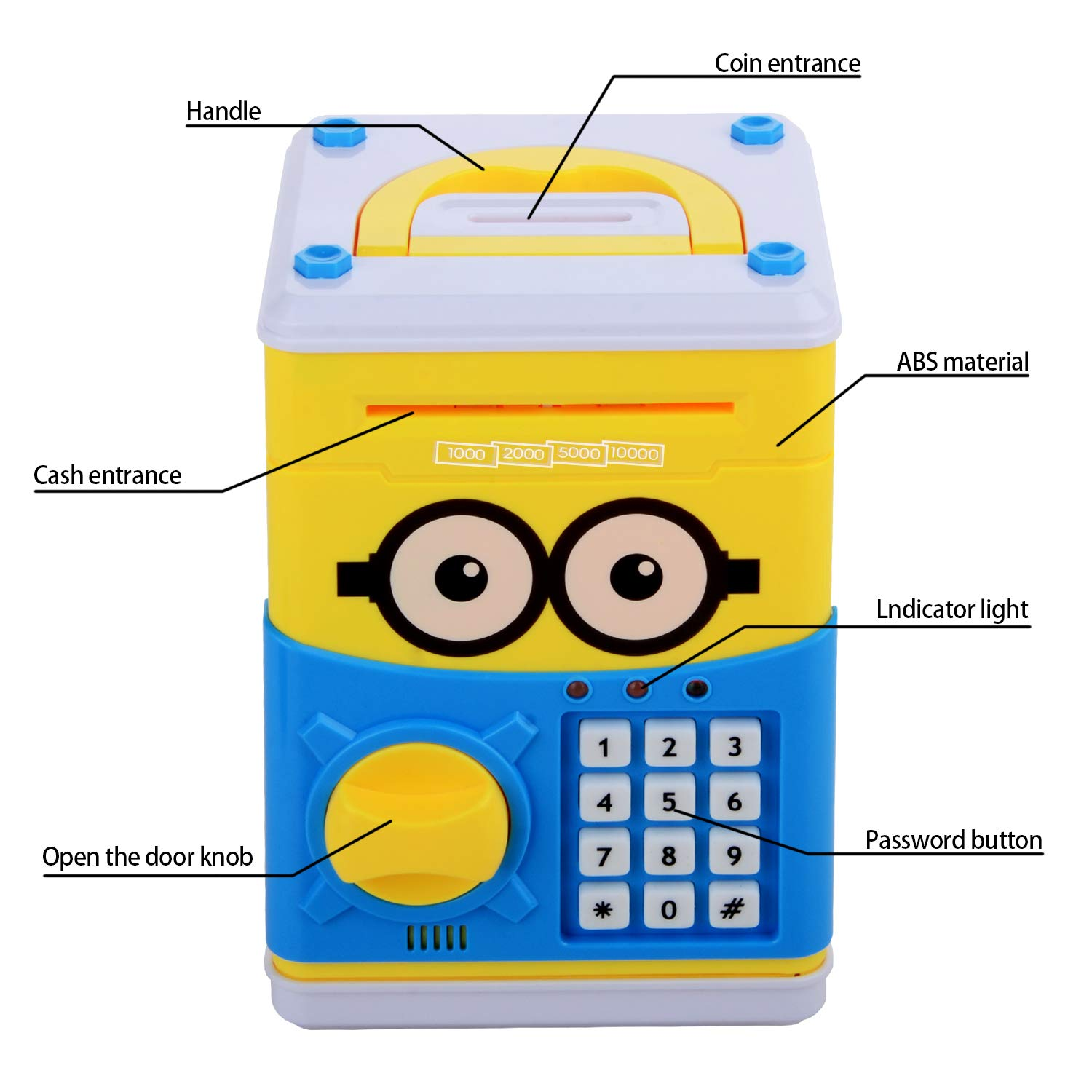Cartoon Piggy Bank for Children Kids Password Electronic Money Bank, Mini ATM Electronic Coin Bank Coin Box, Great Christmas Gift for Children by CreaTion (Image #3)