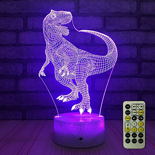 FlyonSea Night Lights for Kids Bedside Lamp 7 Colors Change Remote Control with Timer Kids Night Light Optical Illusion Lamps for Kids Lamp As a Gift Ideas for Boys or Girls (Dinosaur)