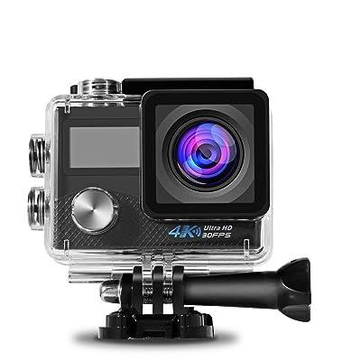 4K Action Camera, 1080P Full HD Wifi Caméra sport Caméra étanche avec objectif 170 degrés HD 16 mégapixel 2.0 'TFT pour extérieur Ensemble complet d'accessoires Bike cross country Sur