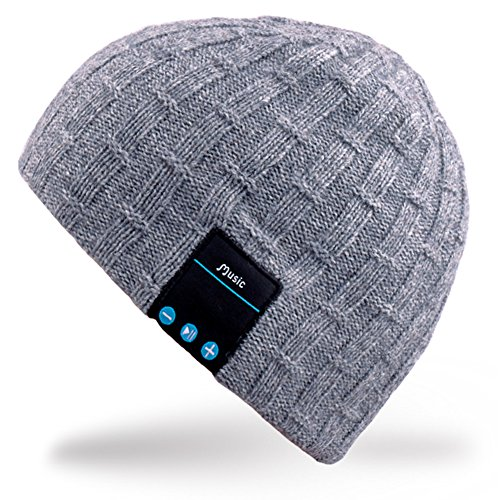Mydeal Rechargeable Bluetooth Beanie Warm Soft Double Knitted Trendy Short Skully Hat Cap W/ Wireless Headphone Headset Earphone Speakerphone Mic for Sports Skating Hiking Camping Christmas Gift- Gray