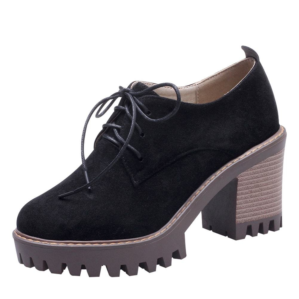 Carolbar Womens Lace-up Retro Chunky High Heel Oxfords Shoes