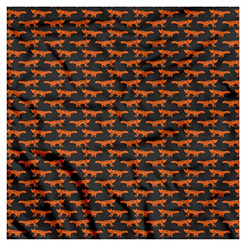 Ambesonne Unisex Bandana, Fox Forest Animal Silhouette, Charcoal Grey