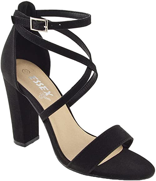 New Womens Ladies Ankle Strap Mid Heel Wedges Shoes Lace Up Cut Out Sandals 3-8