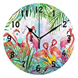 SEULIFE Wall Clock Tropical Flower Animal Flamingo Art, Silent Non Ticking Clock for Kitchen Living Room Bedroom Home Artwork Gift
