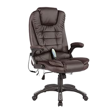 Murtisol Massage Gaming Chair Ergonomic Leather Office Chair  Heated/Executive/Adjustable High Back Brown