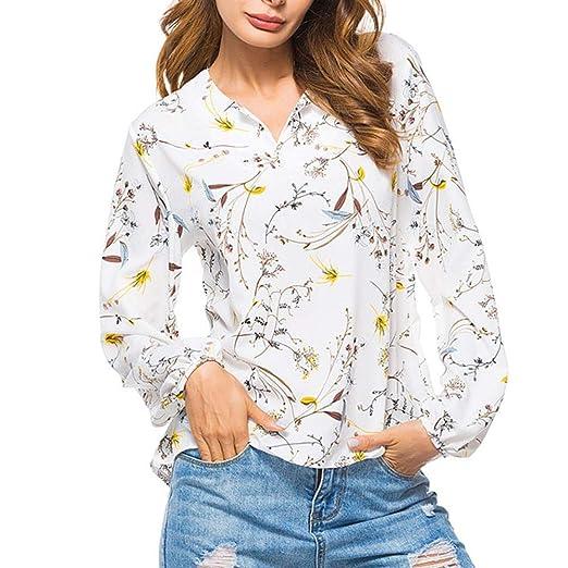 f507c979f51 SCSAlgin Womens Ladies Printing V Neck Long Sleeve T-Shirt Tops Blouse