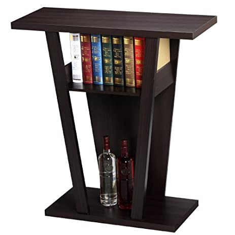 Topeakmart V Console Sofa Entry Table Hall Furnishings, Espresso
